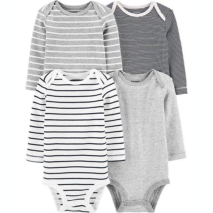 Alternate image 1 for carter's® Preemie 4-Pack Stripe Long-Sleeve Original Bodysuits
