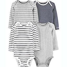 carter's® Preemie 4-Pack Stripe Long-Sleeve Original Bodysuits