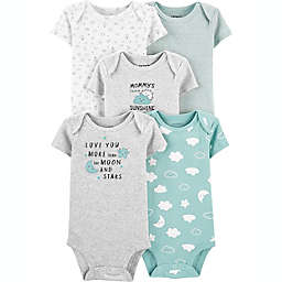 carter's® Preemie 5-Pack Clouds Short-Sleeve Original Bodysuits