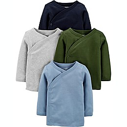 carter's® Preemie 4-Pack Long Sleeve Side-Snap Shirts