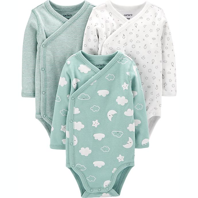 Alternate image 1 for carter's® Preemie 3-Pack Clouds Side-Snap Bodysuits