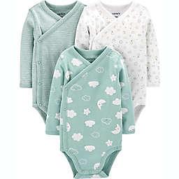 carter's® Preemie 3-Pack Clouds Side-Snap Bodysuits