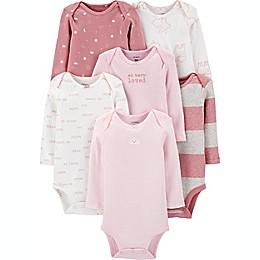 carter's® Preemie 6-Pack Long Sleeve Bodysuits in Pink
