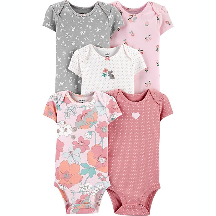 Alternate image 1 for carter's® Preemie 5-Pack Floral Short-Sleeve Original Bodysuits in Pink