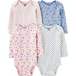 carter's® Preemie 4-Pack Floral Long-Sleeve Original Bodysuits