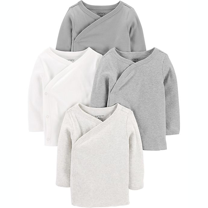 Alternate image 1 for carter's® Preemie 4-Pack Side-Snap Shirts in Grey/White