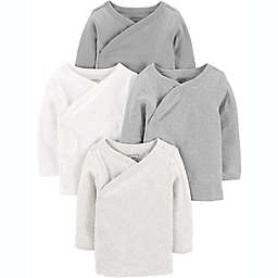 carter's® Preemie 4-Pack Side-Snap Shirts in Grey/White