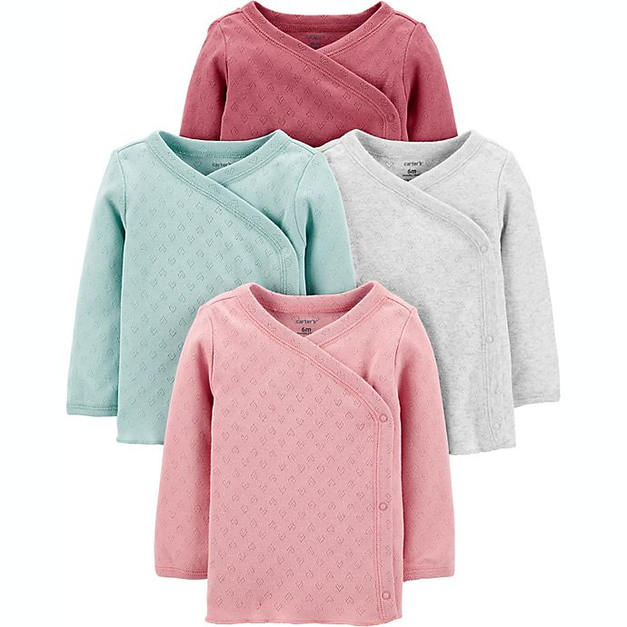 Alternate image 1 for carter's® Preemie 4-Pack Long Sleeve Side-Snap Shirts in Pink/Mint