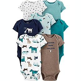 carter's® Preemie 7-Pack Woodland Creatures Short-Sleeve Original Bodysuits