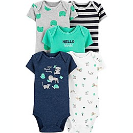 carter's® Preemie 5-Pack Animals Short-Sleeve Bodysuits in Blue/Green