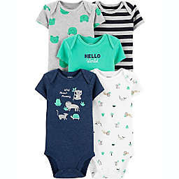 carter's® Preemie 5-Pack Animals Short-Sleeve Bodysuits in Blue/Green