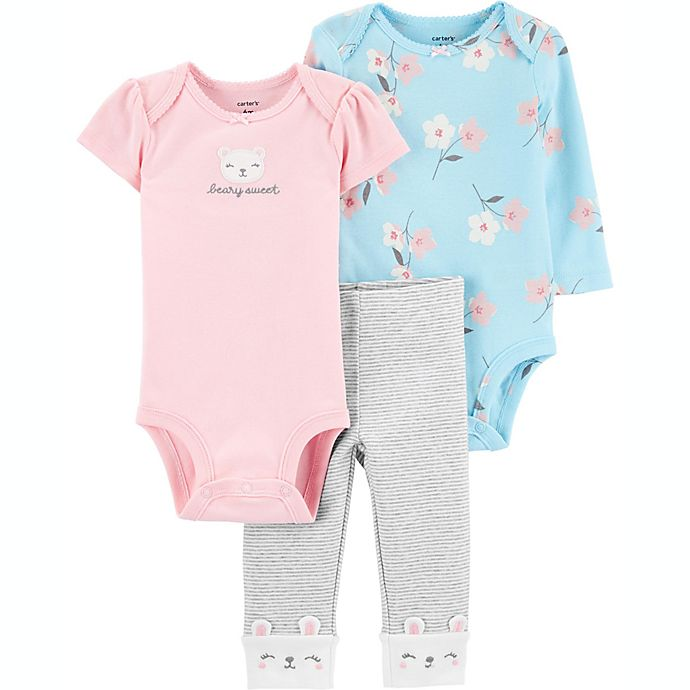 Alternate image 1 for carter's® Preemie 3-Piece Bear Little Character Set in Pink/Blue/Grey