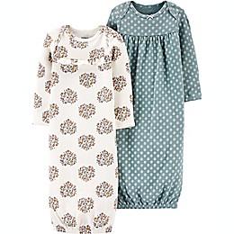 carter's® Preemie 2-Pack Floral Sleeper Gowns in Teal/Beige
