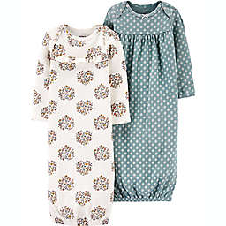 carter's® Preemie 2-Pack Floral Sleeper Gowns in Teal/Beige