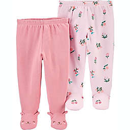 carter's® Preemie 2-Pack Footed Pants in Pink