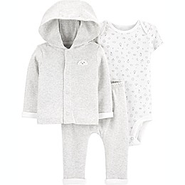 carter's® Preemie 3-Piece Clouds Little Cardigan Set in Heather Grey
