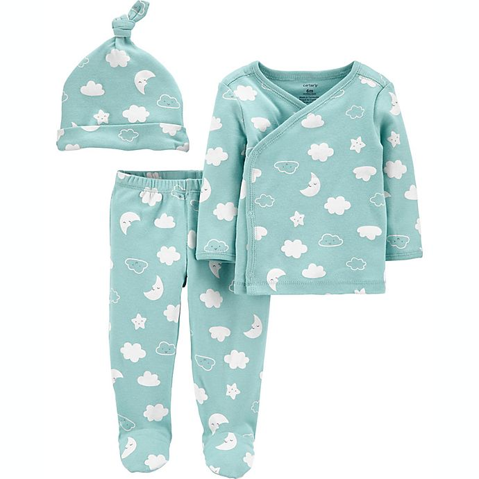 Alternate image 1 for carter's® Preemie 3-Piece Shirt, Pant, and Cap Set in Mint