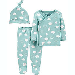 carter's® Preemie 3-Piece Shirt, Pant, and Cap Set in Mint