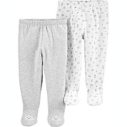 carter's® Preemie 2-Pack Footed Pants in Grey