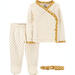 carter's® Preemie 3-Piece Floral Take-Me-Home Set in Yellow
