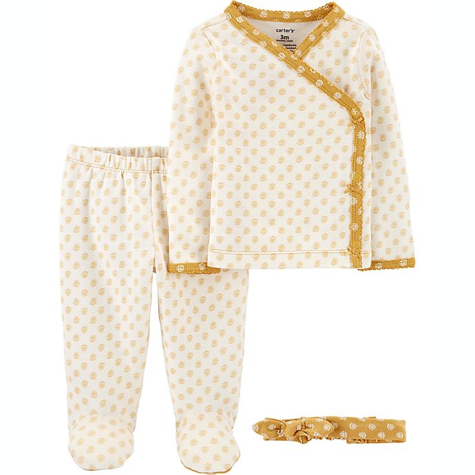 Alternate image 1 for carter's® Preemie 3-Piece Floral Take-Me-Home Set in Yellow