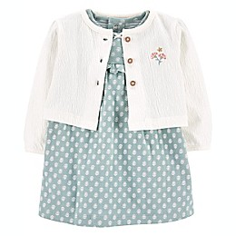 carter's® 2-Piece Bodysuit Dress and Cardigan Set in Mint