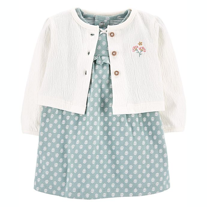 Alternate image 1 for carter's® 2-Piece Bodysuit Dress and Cardigan Set in Mint