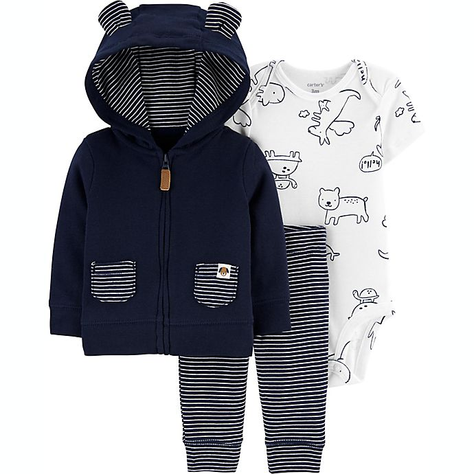Alternate image 1 for carter's® Size 6M 3-Piece Animals Bodysuit, Jacket and Pant Set in Navy