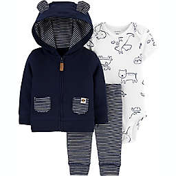 carter's® Newborn 3-Piece Animals Bodysuit, Jacket and Pant Set in Navy