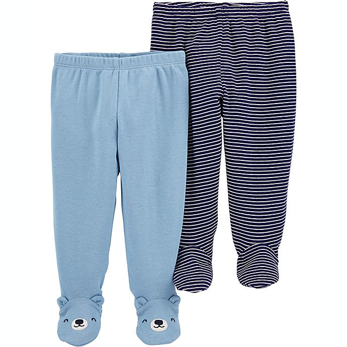 Alternate image 1 for carter's® Preemie 2-Pack Footed Pants in Blue