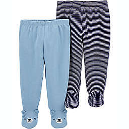 carter's® Preemie 2-Pack Footed Pants in Blue