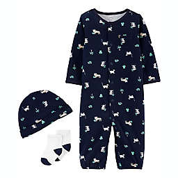 carter's® Preemie 3-Piece Jungle Take-Me-Home Set in Navy