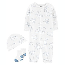 carter's® Preemie 3-Piece Take-Me-Home Converter Gown Set in White