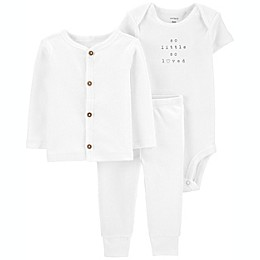 carter's® Preemie 3-Piece So Loved Little Cardigan Set in White