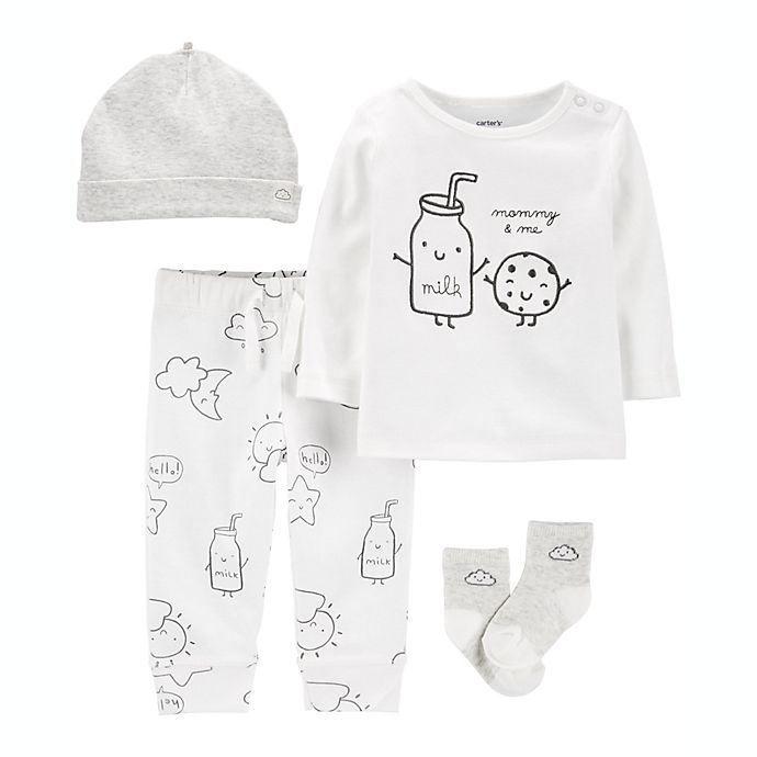 Alternate image 1 for carter's Preemie 4-Piece Cookie Take-Me-Home Set in White