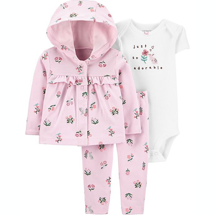 Alternate image 1 for carter's® Preemie 3-Piece Floral Little Cardigan Set in Pink