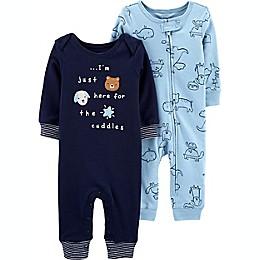 carter's® Preemie 2-Pack Animal Jumpsuits in Blue