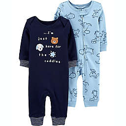 carter's® Preemie 2-Pack Animal Jumpsuits in Blue
