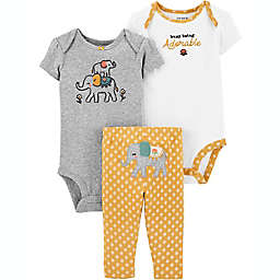 carter's® Preemie 3-Piece Elephant Little Character Set in Yellow/White/Grey