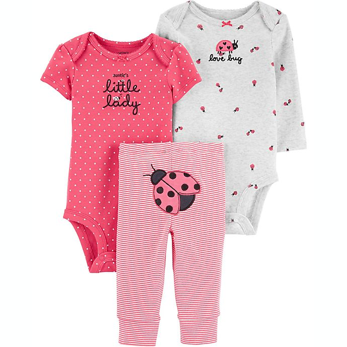Alternate image 1 for carter's® Preemie 3-Piece Ladybug Bodysuits and Pant Little Character Set in Pink