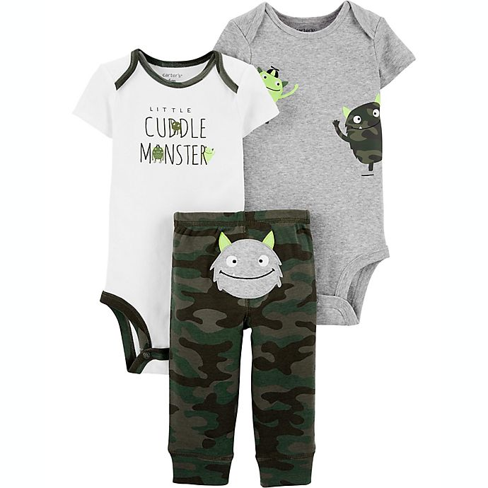 Alternate image 1 for carter's® Preemie 3-Piece Monster Layette Set in Green