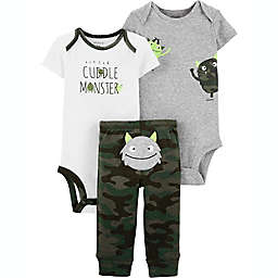 carter's® Preemie 3-Piece Monster Layette Set in Green