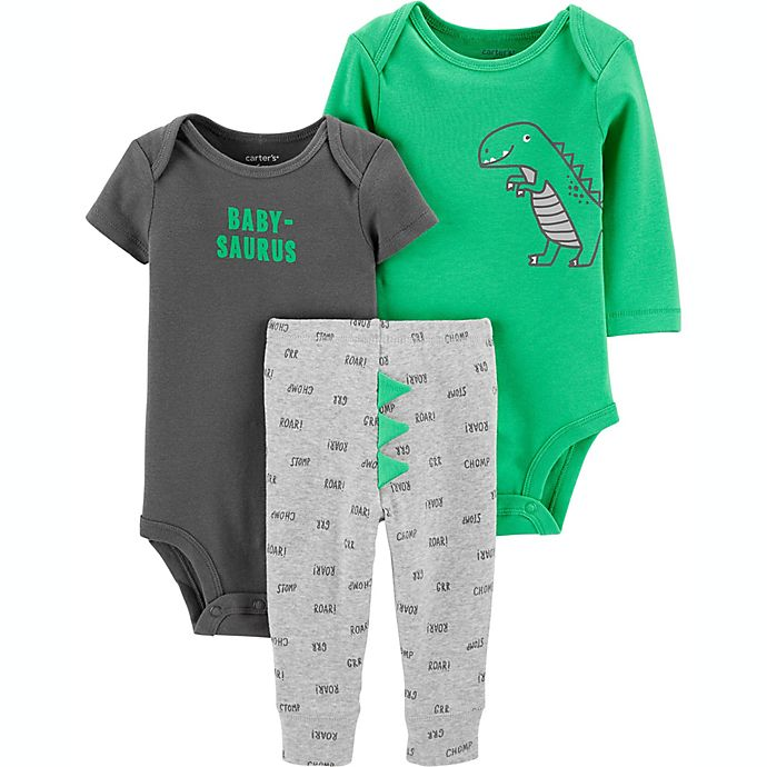 Alternate image 1 for carter's® Preemie 3-Piece Dinosaur Bodysuits and Pant Little Character Set in Green