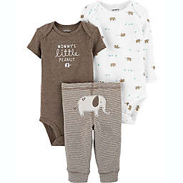 carter's® Preemie 3-Piece Elephant Layette Set in Brown