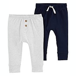carter's® Preemie 2-Pack Pull-On Pants in Navy/Grey