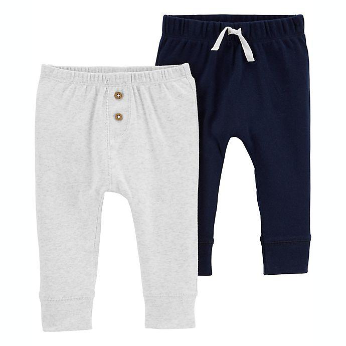 Alternate image 1 for carter's® Preemie 2-Pack Pull-On Pants in Navy/Grey