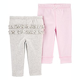 carter's® Preemie 2-Pack Pull-On Pants in Pink/Heather Grey