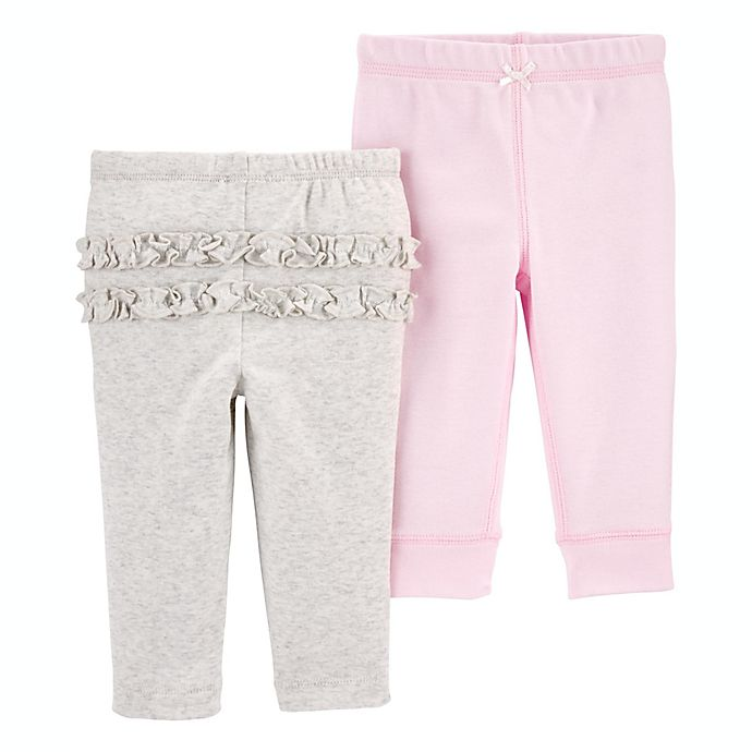 Alternate image 1 for carter's® Preemie 2-Pack Pull-On Pants in Pink/Heather Grey