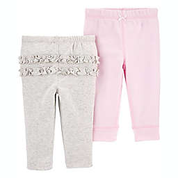 carter's® Preemie 2-Pack Pull-On Pants in Pink/Heather Grey
