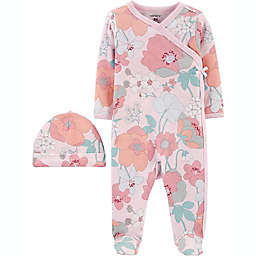 carter's® Preemie 2-Piece Floral Sleep N' Play and Cap Set in Pink